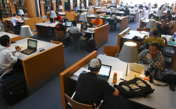 Students study on the fifth floor of the MLK library monday.